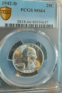 1942-D Gold Seal.  SILVER WASHINGTON PCGS MS-64  super nice!!💥💥💥