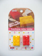 2 Piece Silicon LEGO Earphone Cable Holder Red & Yellow BN
