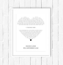 Personalised Song Words Lyrics Framed Print, Wedding Gift / Anniversary Gift