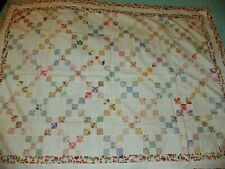 Vintage Nine Patch Feedsack Quilt Top 41 X 54