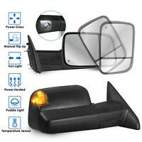 Set(2) Power Heated LED Signal w/ Temp Sensor Towing Mirrors For 09-18 Dodge Ram