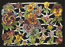 German Victorian Style Embossed Scrap Die Cut - Purple Pansies / Flowers  EF7279