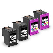 4PK Reman HP 62XL Black + Color Ink Cartridges for Officejet 5740 5742 5745