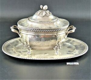 Serving bowl with lid and tray (1) - .925 silver - Europe - late 19th century