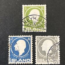 ICELAND, SCOTT # 86+88/89(2), 1a_4a+6a. VALUES 1911 JON SIGURDSSON  ISSUE USED