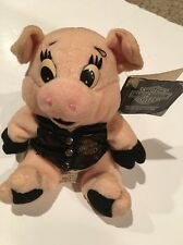 "Harley Davidson Bean Bag Plush ""Rachet"" Pig With Leather Vest 1997 With Tag"