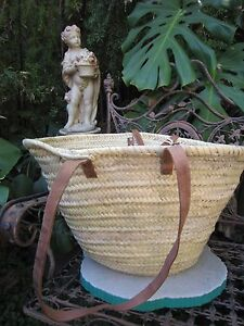 'French' Market Basket Hand Made in Morocco  Medium Large  leather handles  V2