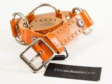 New  Roccobarocco  Orange Leather Belt Size S