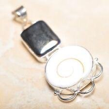 "Handmade Shiva Eye Shell Gemstone Pure 925 Sterling Silver Pendant 2.5"" #P14241"