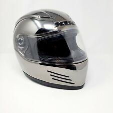 KBC VR7 Wolf Motorcycle Helmet Size LG Silver Chrome Clear Visor Air-Scoop
