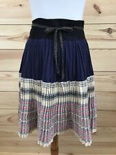 Handmade Skirt Sz Small/Medium Pleated Wrap Tie Black Blue Beige Pink Stripe B75