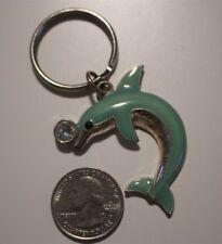 Aqua Enamel Colored Jumping Dolphin Rhinstone Souvenir Charm Key Chain #20435