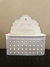 Cream Enameled Wall Mount Basket Organizer Great For Keys And Mail
