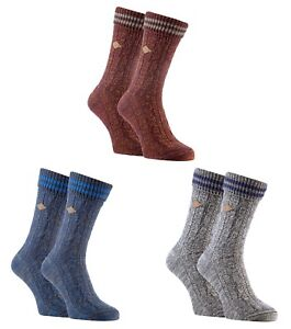 Farah - 2 Pairs Mens Thick Cotton Chunky Cable Knit Winter Warm Dress Boot Socks
