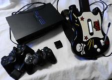 Playstation 2 - Konsole mit 2 Controllern + Guitar hero Gitarre + Receiver (O)