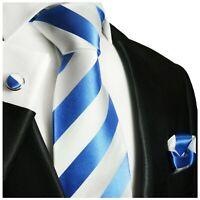 Paul Malone Krawatte hellblau weiß Seide + Einstecktuch + Manschettenknöpfe 413