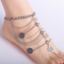Fashion Boho Silver Plated Coin Chain Anklet Ankle Bracelet Foot Jewelry Gift