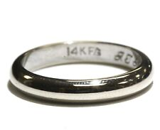 14k white gold 3.40mm mens wedding band ring 3.8g gents womens vintage size 7