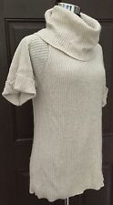 Ann Taylor LOFT Ivory Turtleneck Sweater SZ S Stretchy Short Sleeve Ribbed
