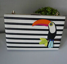 KATE SPADE Emanuelle TOUCAN CLUTCH Montigo Avenue SHOULDER BAG BIRD Stripe NEW