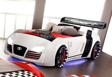 Kinder Rennwagen Autobett TURBO V8 weiss | Spoiler ✓ | Funk ✓ | LED ✓ | Rost ✓