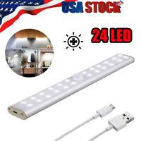 24 LED Motion Sensor Closet Light Wireless Night Cabinet USB Rechargeable Indoor