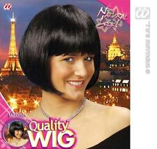 Ladies Black Bob Wig With Fringe 60'S Charleston Secretary Fancy Dress