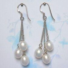 6-7mm Genuine Natural White Freshwater Pearl 925S Silver Dangle Earrings