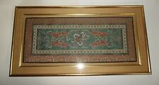 Vintage Chinese Silk Embroidery Tapestry DRAGONS Gold Framed 30""