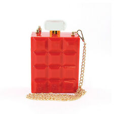 NEW FANCY 3D RED+GOLD PERFUME BOTTLE SHAPED ACRYLIC+CHAIN CROSSBODY,HAND BAG