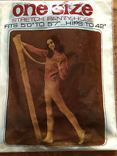 Exciting! Vintage One Size nude navy blue stretch pantyhose w/ model sz average
