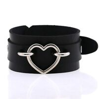 Silver Color Heart Wide Cuff Leather Bracelets Punk Gothic Rock Unisex Bangles
