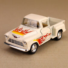 1955 Cream Chevrolet Stepside Pickup Ute with Flames 1:32 Scale Die-Cast Model