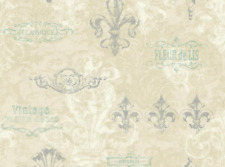 Fleur De Lis Script Wallpaper French Provence Victorian France Sold By the Yard