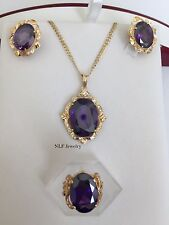 & Ring-14K Gold Purple Gemstones -O7 Beautiful set of matching Earring, Pendant,