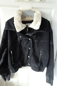 Topshop ladies denim jacket with sherpa lined collar in black size 14