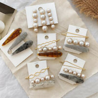 Women Geometry Pearl Marble Hairpin Bobby Pin Hair Clip Barrette Accessories