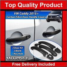 VW CADDY & MAXI MK4 REAL CARBON FIBRE 3 DOOR HANDLE COVER TRIM SET NOT CHROME