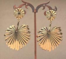 """18K Gold Filled 1.6"""" Earring Sector Banana Leaf Eardrop Fashion Women Wedding DS"""