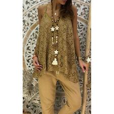 3118e737f1 Women Lace Sleeveless Camisole Tops Loose Tunic Shirt V Neck Vest Tops Size  6-20