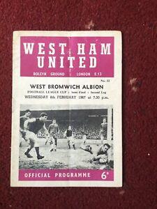 8/2/1967 League Cup Semi Final 2nd Leg, West Ham v West Bromwich Albion