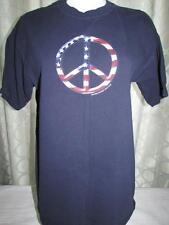 Womens Gildan Navy Blue PEACE SIGN Cotton Tee Shirt Large