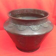JAPON 19° Ère Meiji 明治時代 Grand cache pot bronze patiné ciselé Décor cartouche