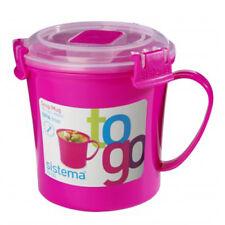 Sistema Klip It Microwave Medium Soup Mug To Go Lunch Take Away Cup - Pink