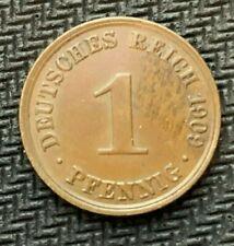 1909 A German 1 Pfennig Coin AU    High Grade World Coin       #C852