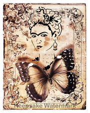 Frida Kahlo Butterfly Sepia Collage Fabric Quilt Block Free Shipping World Wide