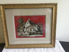 Vintage Embroidered Country Home W Individually Set Beadwork