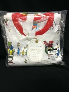 Pottery Barn Kids Grinch who Stole Christmas fitted bed pajamas size 14 2 piece