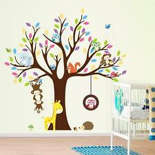 Cute Animals Monkey Owl Tree Removable Kids Wall Sticker Decal Nursery Decor FW