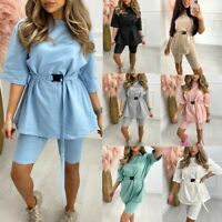 Ladies Women Belted Oversized T shirt Cycling Short Co Ord Loungewear Tracksuit